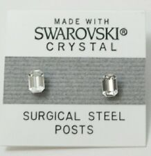 Silver Emerald Rectangle Stud Earrings 5mm Small Crystal  Made With SWAROVSKI
