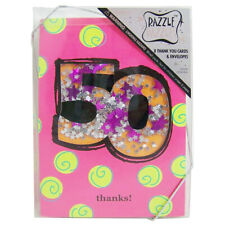 "50th Birthday ""Glitter Confetti Box"" Thank You Cards & Envelopes- 8 Pack"