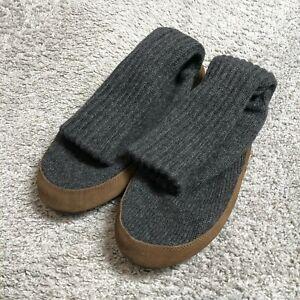 LL Bean 05488 Slipper Socks Brown Leather Gray Wool Suede XL 12-13