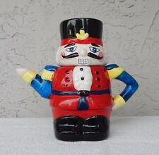 """Christmas Nutcracker Ceramic 8"""" Teapot ~ Decorative ~ Collectible ~ Cute"""