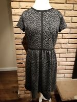Loft Jersey Knit Dress Leopard Print Summer Womens US Size 10 Medium Large