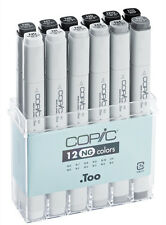 COPIC .TOO MARKER - 12 NEUTRAL GREY SET  TWIN TIPPED REFILLABLE WITH COPIC INKS