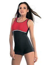 Badeanzug mit Bein von gWinner Modell Maryla in der Farbe grau/rot, Größe 48