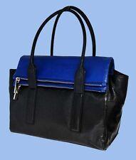 MICHAEL KORS TIPPI Black & Blue Sapphire Leather Satchel Shoulder Bag Msrp $398