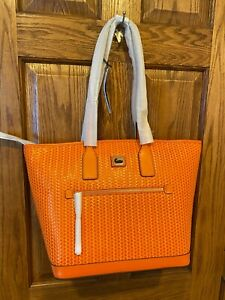 Stunning NWT Dooney and Bourke Authentic Camden Woven Tote Large in Orange
