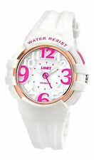Limit Girls 100m Watch White Case/Strap Rose Gold Ring Full Numbers Heart 5576