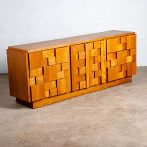 Mid Century Modern Credenza Dresser Lane Mosaic Pueblo Brutalist 9 Drawer Wood