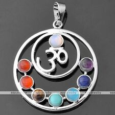 7 Chakra Point Healing Hindu OM AUM Resin Gemstone Charms Pendant For Necklace
