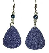 DENIM TEARDROP WITH GLASS PEARLS DANGLE EARRINGS (D002)