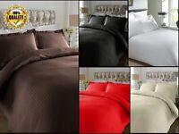 Duvet Cover Set Luxury 100% Egyptian Cotton Satin Stripe 300 TC Bedding All Size