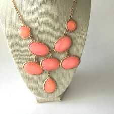 """Necklace Bib Dangle Easter Coral Color Costume Jewelry 16-19"""" Gift Box"""