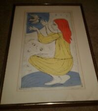 ART ETCHING  YOUNG GIRL LISTED ARTIST IRVING AMEN ARTIST PROOF