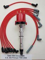 CHEVY GMC 1988-95 4.3L 262 V6 TPI TBI DISTRIBUTOR + PLUG WIRES PICKUPS 1500 2500