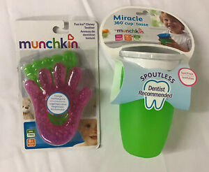 Munchkin Miracle 360 Sippy Cup Green 10oz & 2 pk Fun Ice Chewy Teether Set