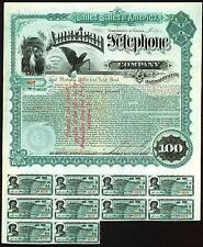 American Telephone Co 1888 Spectacular Uncancelled $100 Bond Virginia