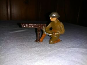 Old Toy Grey Iron Cast Iron Doughboy with Machine Gun Military Soldier