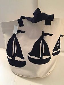 extra LARGE SAILBOAT CANVAS beach cotton BOAT beige tote bag Sail Navy Blue NEW