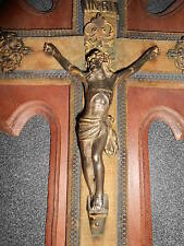 ANCIEN CRUCIFIX SCULPTURE CROIX CHRISTIANISME JESUS CHRIST CHRETIEN REGULE H40cm