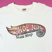 Vtg 90s Hot Rod Skate Shop T-Shirt XL Fade Distress Grunge Hot Wheel Parody RARE