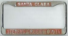 Santa Clara California Stevens Creek Toyota Vintage Dealer License Plate Frame