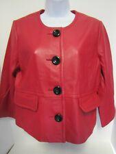 Kasper Red Leather Cropped Jacket - Blazer - Small