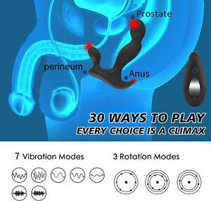 Male Prostate Massager Vibrating Rotating Beads Anal Butt Plug Vibrator Probe
