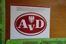 Alter Aufkleber Verkehr Technik AvD Adler