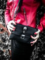GOTHX SKULL HEAD CRYSTAL Ladies Vegan Leather Handbag Punk Rock Goth Gothic Bag