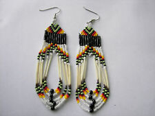 Porcupine Quill  Earrings NEW Navajo lime green  orange and yellow looped 3 1/2""