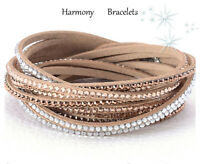 Tan Swarovski Elements Multibling Wrap Slake Bracelet by Harmony Bracelets
