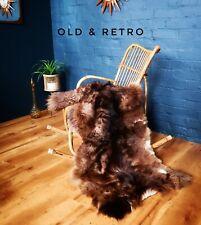 Stunning original vintage Mid century deer? Goat? hide skin fur rug brown retro