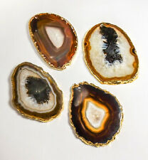 Agate Slice 2mm Drilled Hole - Natural Brown - Gold Plated (LR98)