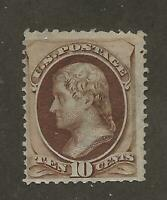 US Stamp #139 1870 Brown 10 Cent Jefferson H Grill Used Lite Cancel SCV $800