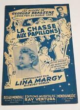 Partition sheet music MARGY / GEORGES BRASSENS : La Chasse aux Papillons * 50's