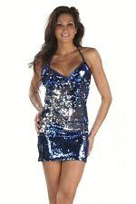 Pailletten Minikleid blau silber Gr.L 40-42 Club Dancewear Kleid Discokleid
