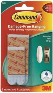 Command 6-Pack Replacement Adhesive Strip Water Resistant Damage Free Hanging