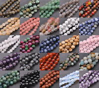 Natural Stone Gemstone FACETED Round Spacer Loose Beads 6MM 8MM 10MM 12MM