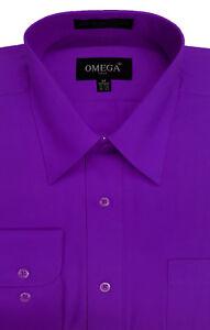 Omega Mens Premium Regular fit Long Sleeve Dress Shirt, 26 Colors, Part 2