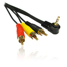 1m 3.5mm Right Angle 90 Deg 4 Pole/Rings Jack Plug to RCA/Phono Lead/Cable GOLD