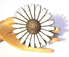 "A MICHELSEN Denmark Sterling+Enamel DAISY Pin~1-5/8""~EUC~Vintage Danish Brooch"