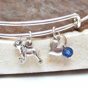 "French Bulldog Mini Heart Stackable Bangle Bracelet, Dog Charm (2.5""-3"")FreeShip"