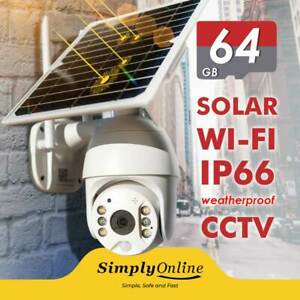 WiFi Solar Powered - Cable Free 24/7 Security PTZ camera + 64 GB SD CARD