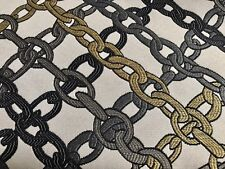 YELLOW  GRAY BLACK CHAIN LINK CONTEMPOPRARY UPHOLSTERY FABRIC 3 YDS