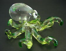 Glass OCTOPUS SQUID Green Glass Animal Glass Ornament Sea Creature Glass Figure