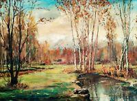 Quadro dipinto olio su tela firmato, Paesaggio boschivo autunnale con montagne