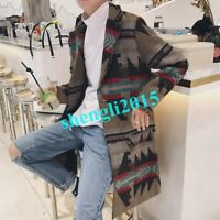 Mens Trench Wool Blend Coats Thicken Outwear Jackets Korean Overcoats Lapel Chic
