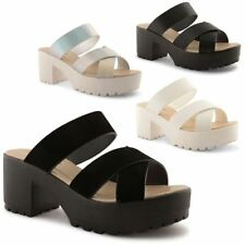 Block Synthetic Leather Slides Sandals for Women