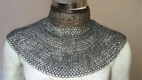 Chainmail Coller 8MM WEDGE Riveted MS with Leather OIL Finish Medieval HALLOWEEN