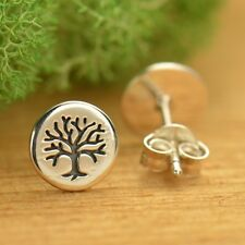 Sterling Silver .925 Tree of Life Stamped Round Circle Studs Stud Earrings Gift