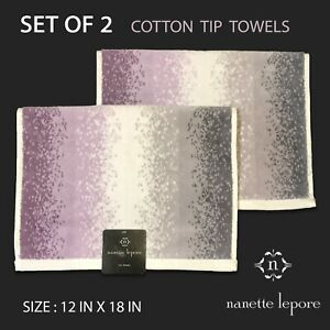2-PK New Nanette Lepore Soft Cotton Tip Towels Purple White Gray Dusty Gradient